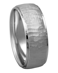 Men's Wedding Band with Hammered Finish