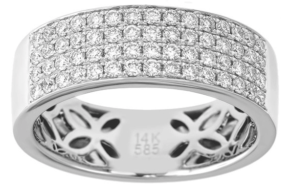 Men's Pave Diamond Four Row Wedding Band