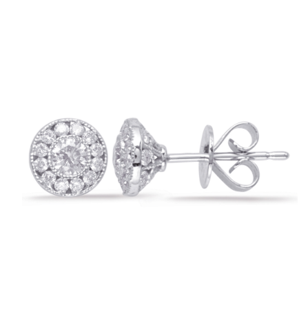 diamond earrings, cluster diamond studs, diamond studs, cluster earrings, pave diamond studs
