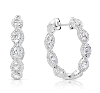diamond hoops, diamond earrings, white gold earrings, gold hoops
