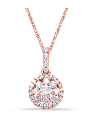 Pave Diamond Pendant in Rose Gold