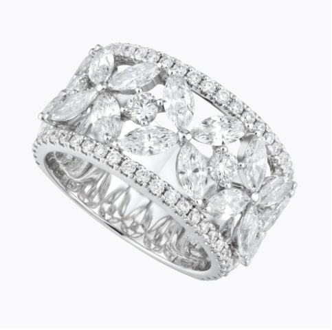 diamond ring, diamond band, anniversary band, marquise diamonds, marquise band, white gold and marquise, baguette diamonds