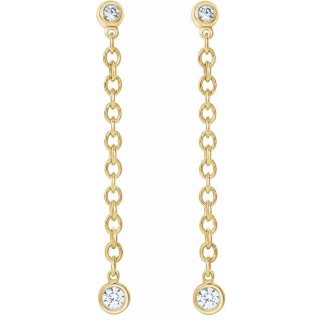 Bezel Diamond Dangle Earrings