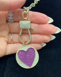 Pink Crystal Heart Lock Necklace