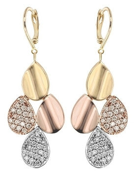 Pear Shaped Dangle Gold & Diamond Earrings