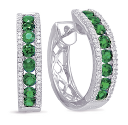 diamond hoops, emerald, emerald hoops, emerald earrings, birthstone earrings, emerald, emerald and diamond hoops, emerald and diamond jewelry