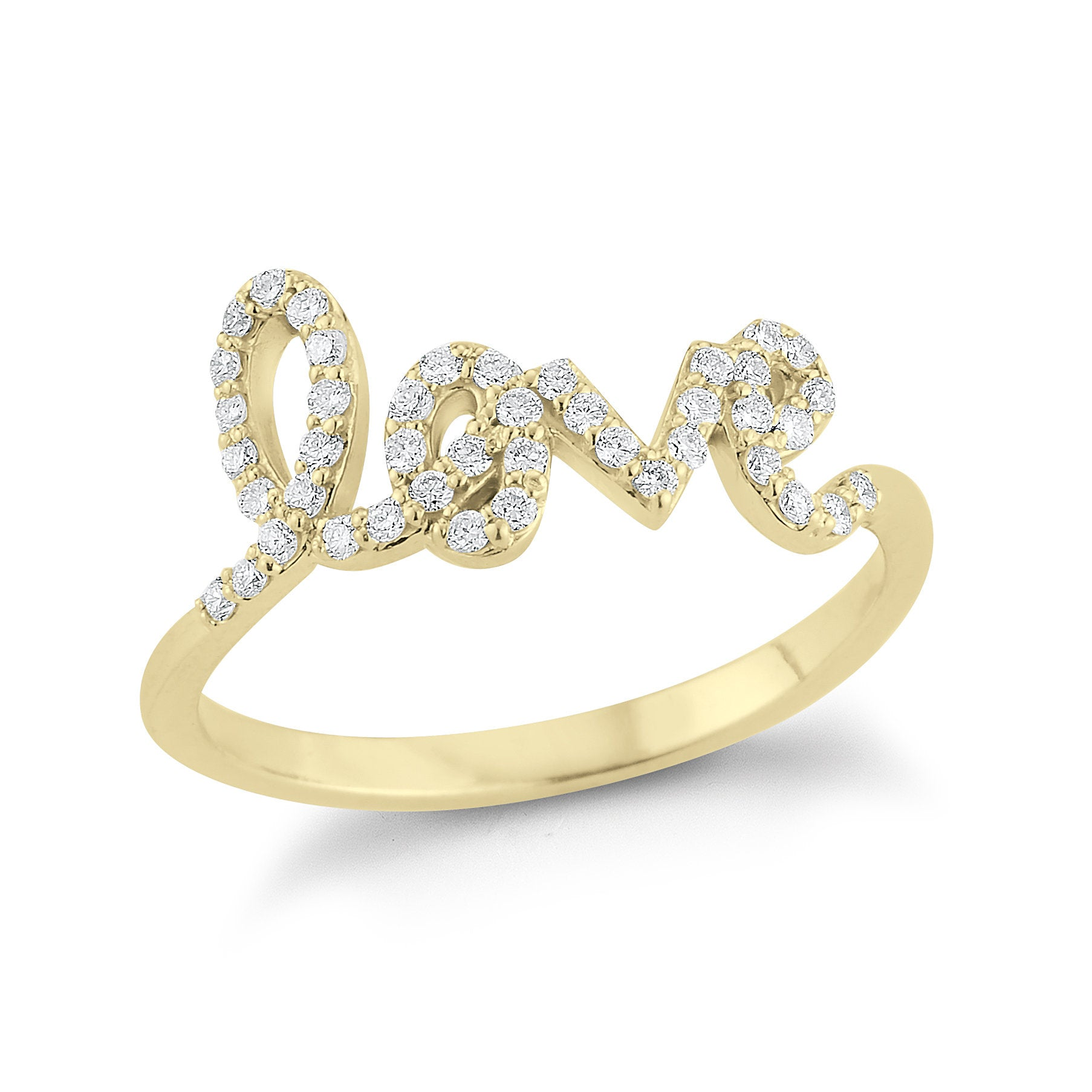 love, love ring, diamond love ring, diamond love jewelry, cursive love, script love, gold love ring, love diamond, love diamond ring, trendy ring, trendy love