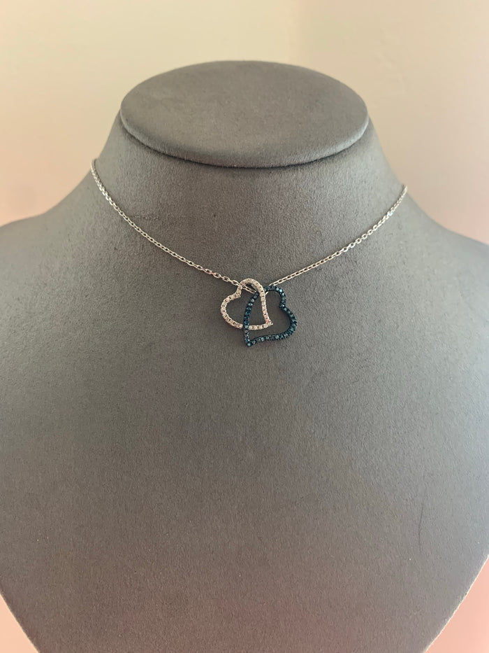 White & Blue Diamond Double Heart
