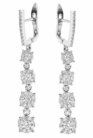 diamond dangle earrings, diamond clusters, dangling diamonds, statement earrings, dressy earrings, white gold diamond earrings