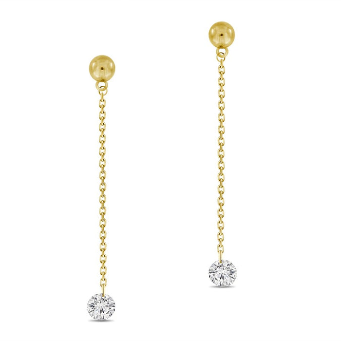 drilled diamond, laser diamond, dangling diamond, drilled diamond earrings, diamond chain earrings, diamond drop earrings, trendy earrings, trendy diamond earrings, yellow gold earrings, rose gold earrings