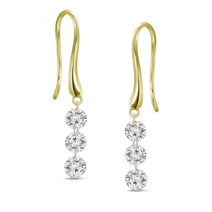 Three Dangling Diamond  Earrings