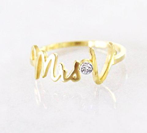 mrs ring, mrs diamond, mrs diamond ring, wifey ring, she said yes, pinky ring, love pinky ring, diamond pinky ring, name jewelry, initial ring
