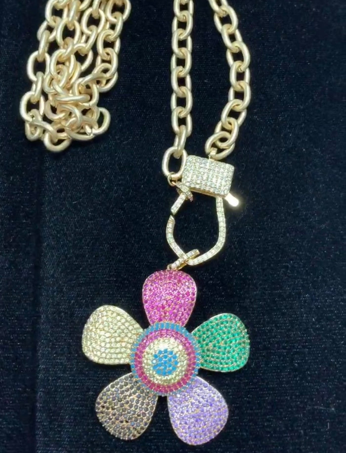 Large Colorful Flower Chain Necklace