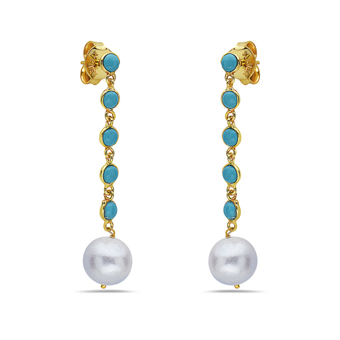 Turquoise & Freshwater Pearl Dangles