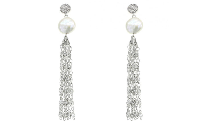 Pave Crystal Dangle Pearl Earrings