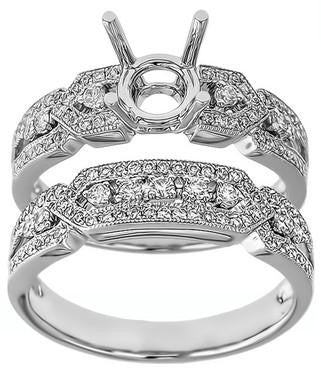 platinum, white gold, diamonds, ring, semi-mount, engagement ring, wedding ring set