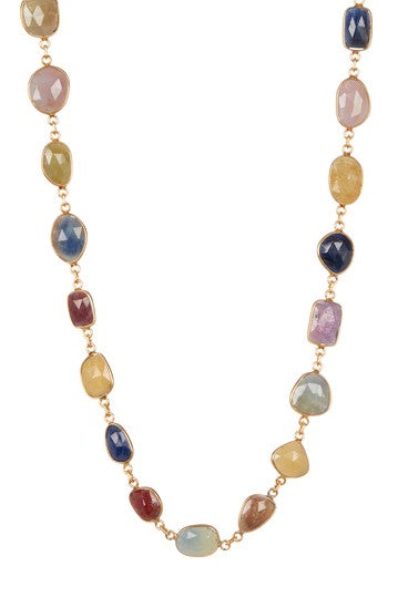 Multi colored Sapphire Gemstone Necklace