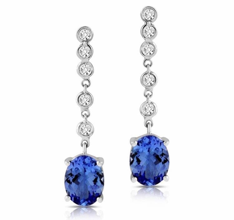 Tanzanite Oval Diamond Dangle Earrings