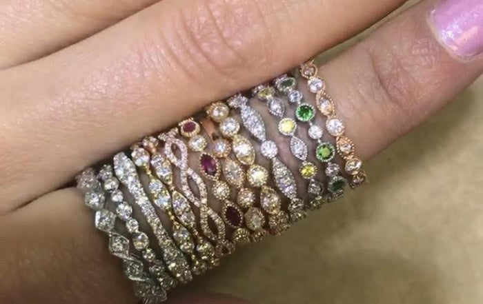 stacking bands, stackable bands, diamond bands, ring stack, trendy rings, wedding bands, gemstone stacking bands, gemstone and diamond bands
