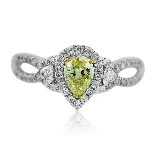 Yellow Diamond Pear Ring