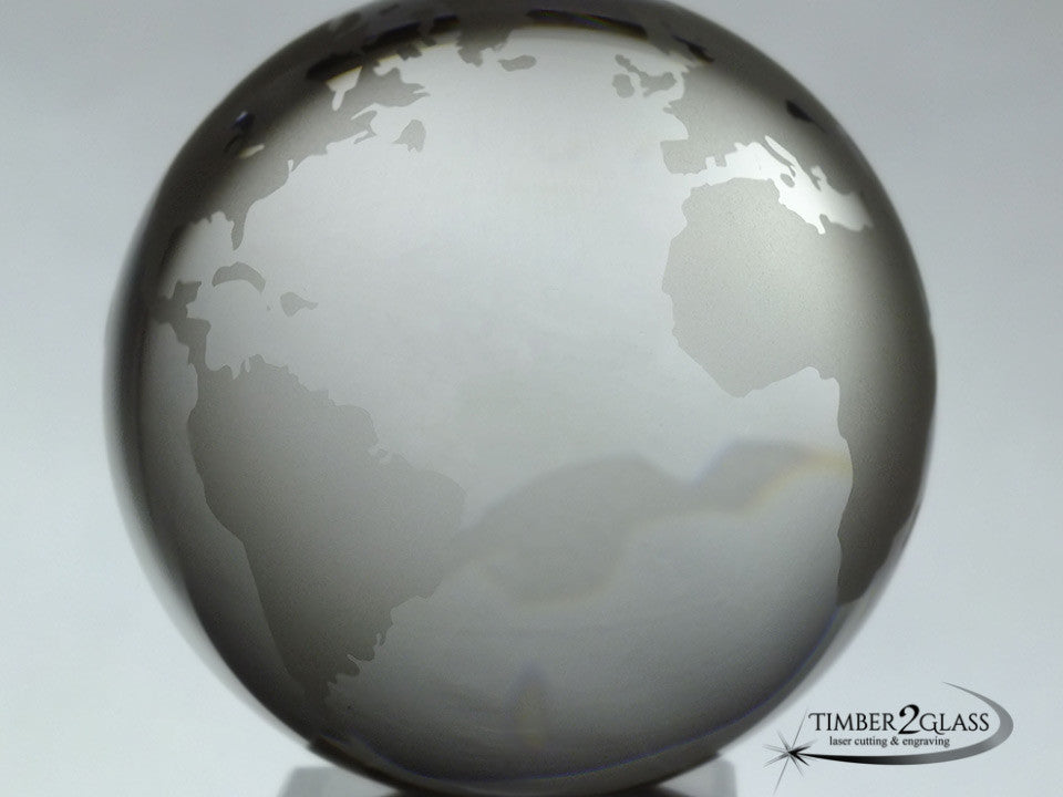 customized globe with Timber 2 Glass, personalize globe, laser engrave globe