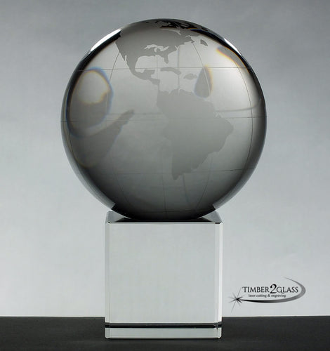 customize globe on cube with Timber 2 Glass, laser engrave globe on cube, personalize globe on cube