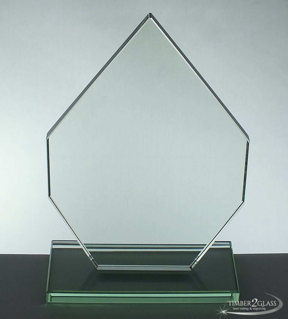 customize diamond shape award-Timber 2 Glass. laser engrave award, personalize award, customize award