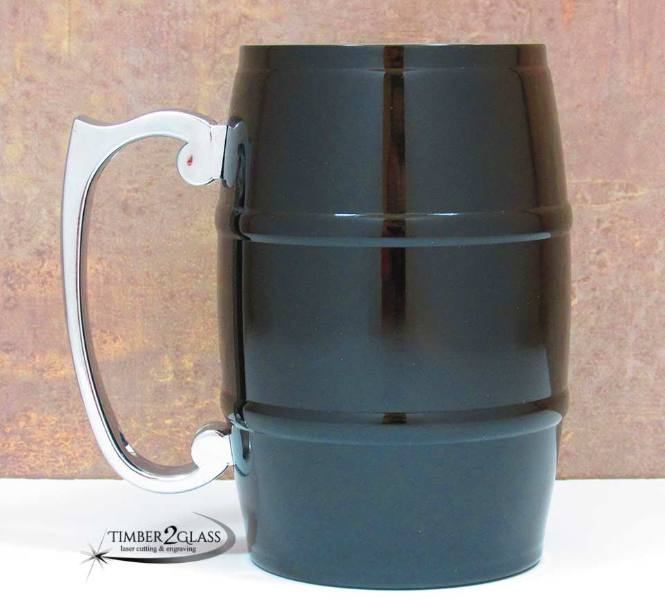 black barrel mug, laser engrave barrel mug, customize barrel mug, personalize barrel mug
