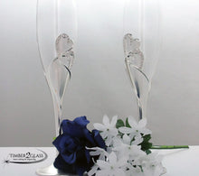 customize heart wedding flutes, engrave wedding glasses with Timber 2 Glass