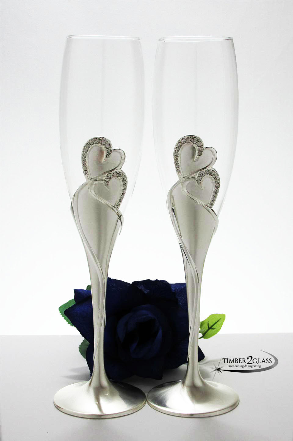 hearts wedding flutes, personalized heart champagne glasses, engrave heart glasses with Timber 2 Glass