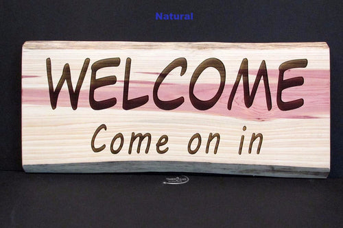 laser engraved cedar welcome sign, cedar welcome sign made by Timber 2 Glass, personalized signs, personalized wood, wood signs
