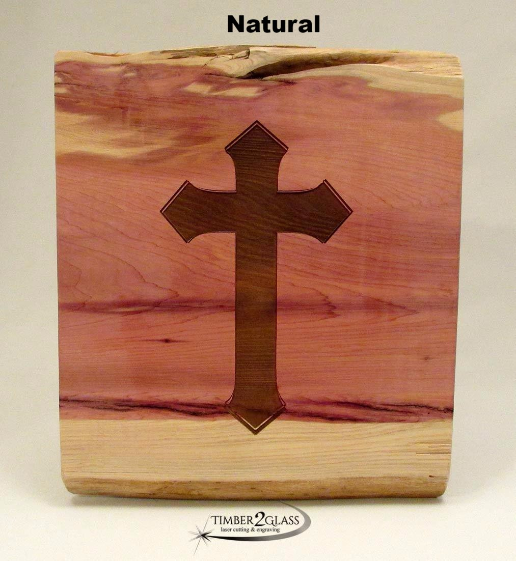 cross cedar sign, laser engraved cross cedar sign, natural cross made by Timber 2 Glass, cross sign, gift, present, personalized signs, personalized wood, wood signs