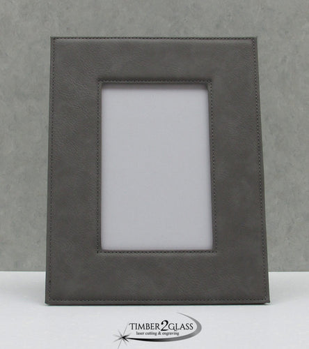 personalize leatherette picture frame, customize leather picture frame, engrave picture frame with Timber 2 Glass, customize photo frame