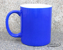 customize blue coffee cup by Timber 2 Glass, personalize coffee cup, laser engrave coffee cup