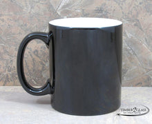 customize black coffee cup by Timber 2 Glass, personalize coffee cup, laser engrave coffee cup