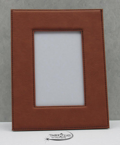 personalize leatherette picture frame, customize picture frame, engrave leatherette picture frame with Timber 2 Glass