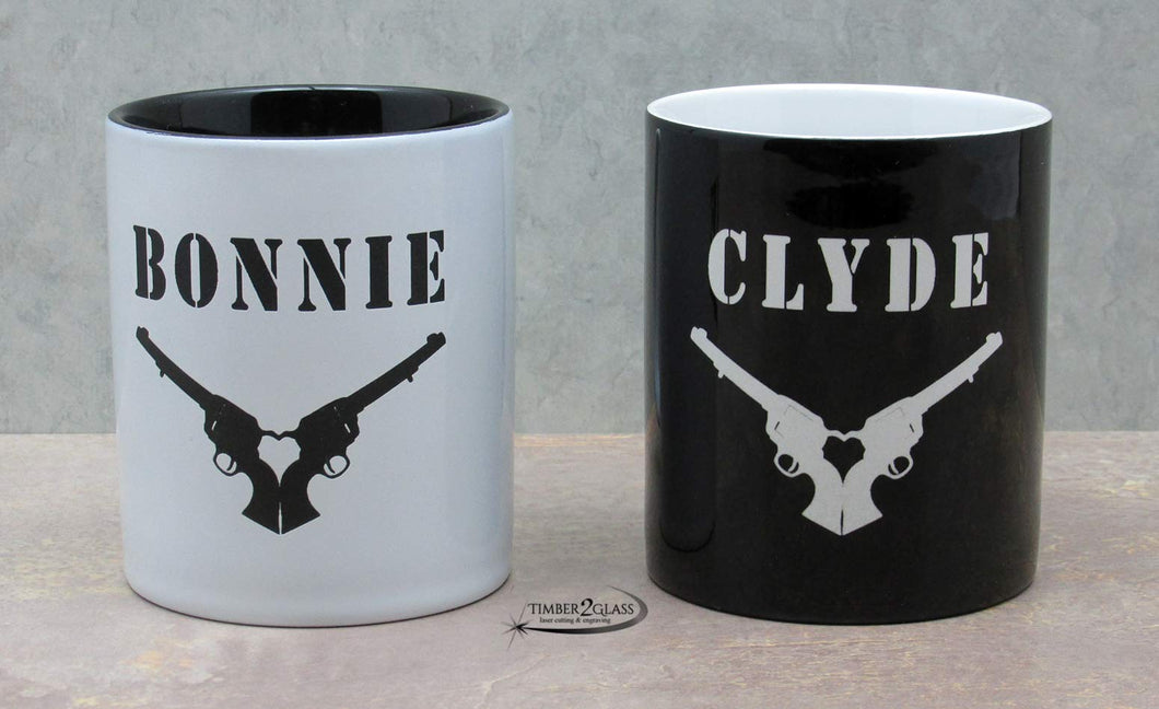 bonnie & clyde coffee cups, customized bonnie & clyde coffee cups by Timber 2 Glass, Bonnie & Clyde coffee cups