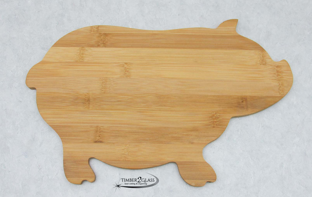 personalize pig bamboo cutting board with Timber 2 Glass, pig cutting board, pig shaped cutting board customized, engrave pig cutting board