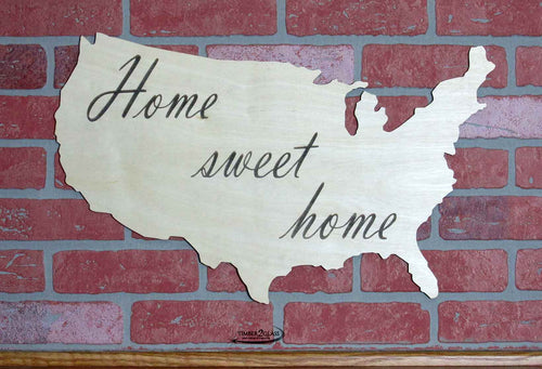 United States Outline, US Home Sweet Home laser engraved by Timber 2 Glass, US wall art, US wall decor cusomized