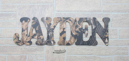 camo wall art, camo name cutout, custom laser cutouts, personalized signs with Timber 2 Glass, laser engraved wall art, home decor, custom home decor, gift ideas, laser engraved gift ideas