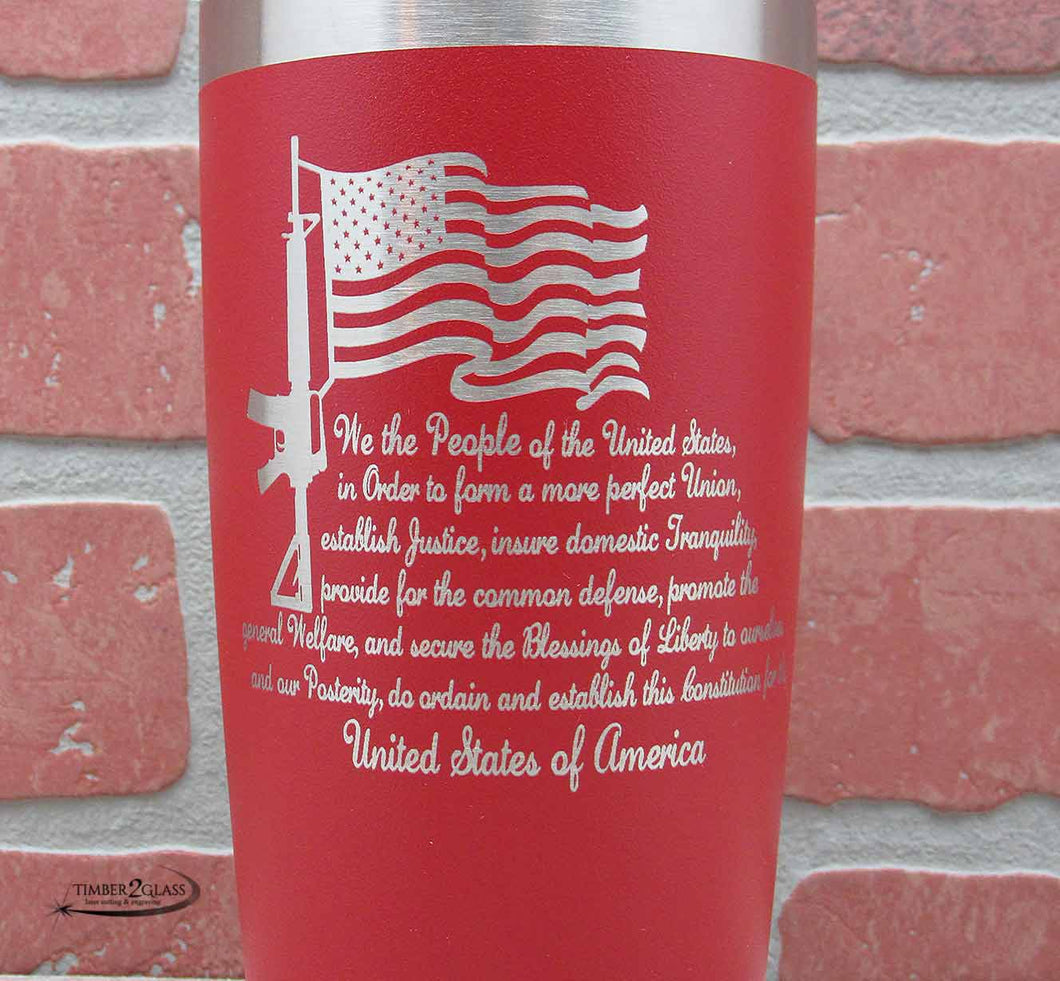 Preamble to the Constitution Tumbler, custom engraved tumblers from Timber 2 Glass, unique gifts, personalized Polar Camel Tumblers, gift ideas