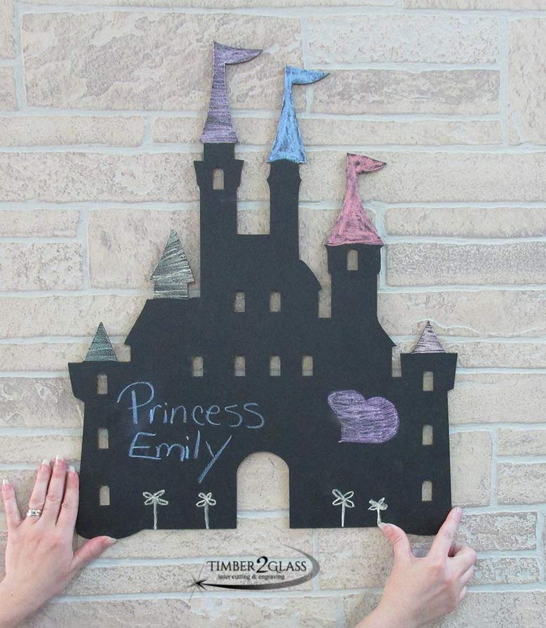 laser cut castle chalkboard, custom gift ideas, gift ideas, laser engraved gift ideas, gifts, castle, laser cut wall art by Timber 2 Glass