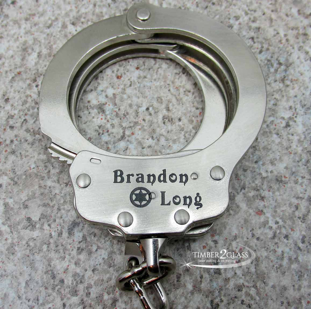 engraved handcuffs, laser engraved handcuffs by Timber 2 Glass, custom laser engraving, gift ideas, laser engraved gift ideas