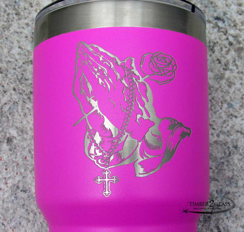 praying hands rosary laser engraved tumbler, custom laser engraved tumbler by Timber 2 Glass, custom engraved gifts, custom gifts, engraved tumblers, gift ideas, personalized gift ideas