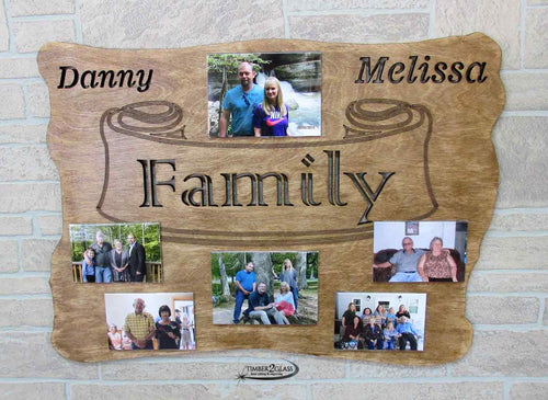 laser engraved and cut wall art, family photo, custom engraved family plaque , laser engraved home decor by Timber 2 Glass, gift ideas, laser engraved gift ideas, custom ideas, personalized family plaques