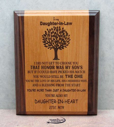 daughter in law plaque, laser engraved daughter in law plaque, wall art, laser engraved home decor, gift ideas, laser engraved gift ideas