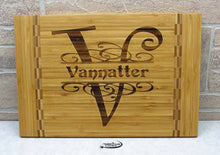 initial and name cutting board engraved by Timber 2 Glass, laser engraved cutting board, custom engraved cutting boards, custom gifts, custom engraved gifts