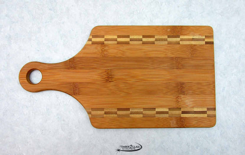 Paddle Shaped Bamboo Cutting Board with Butcher Block Inlay
