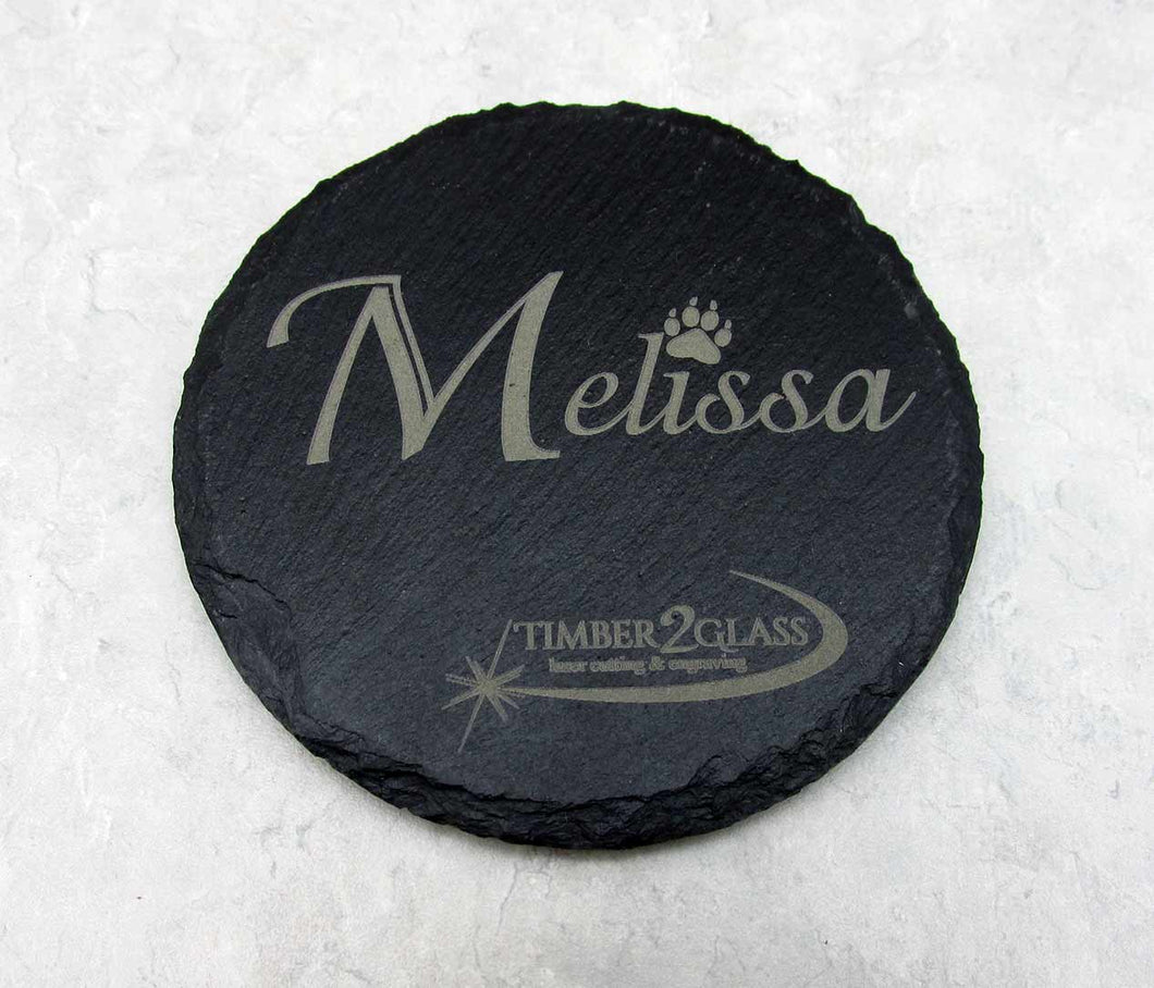 slate coaster, laser engraved slate coaster, custom gifts by Timber 2 Glass, custom laser gifts, coasters, gift ideas