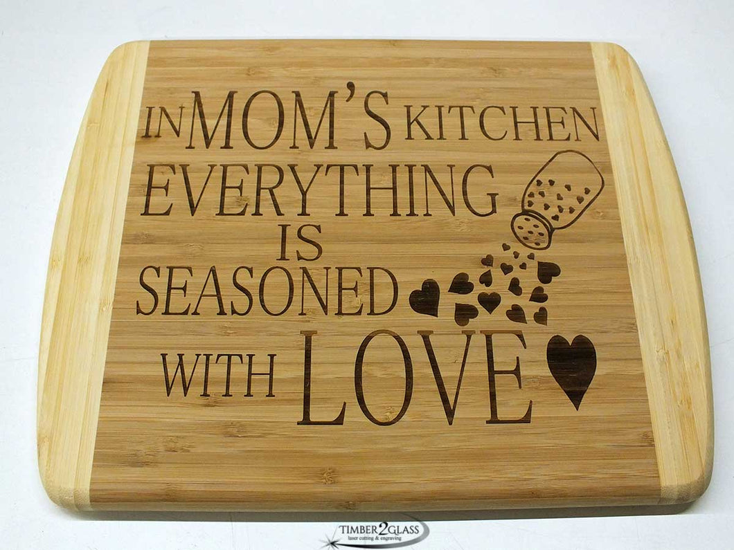 bamboo 2 tone laser engraved cutting board, customized cutting board by Timber 2 Glass, personalize cutting board, great gift idea, unique gift